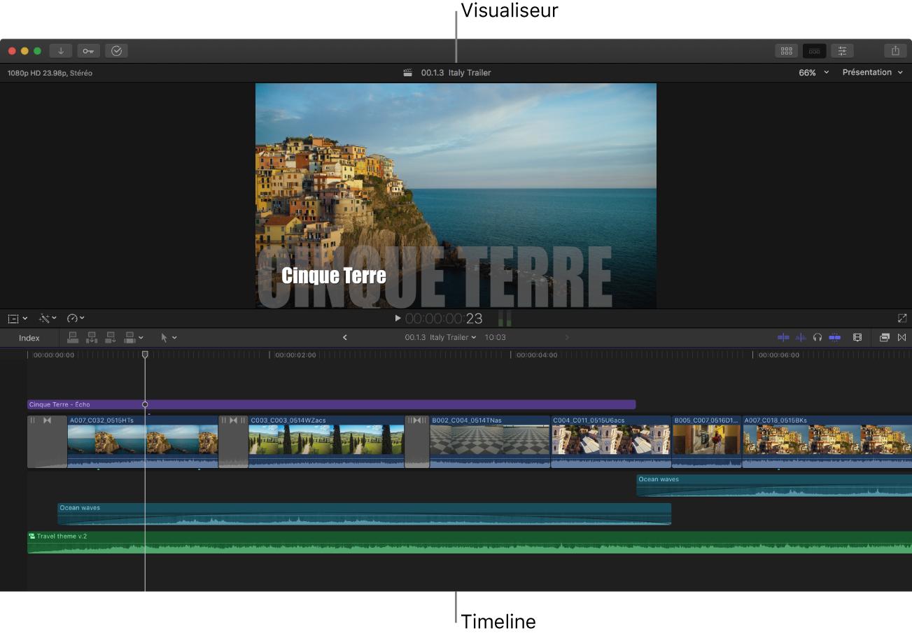 Fenêtre de FinalCutPro avec seulement le visualiseur et la timeline