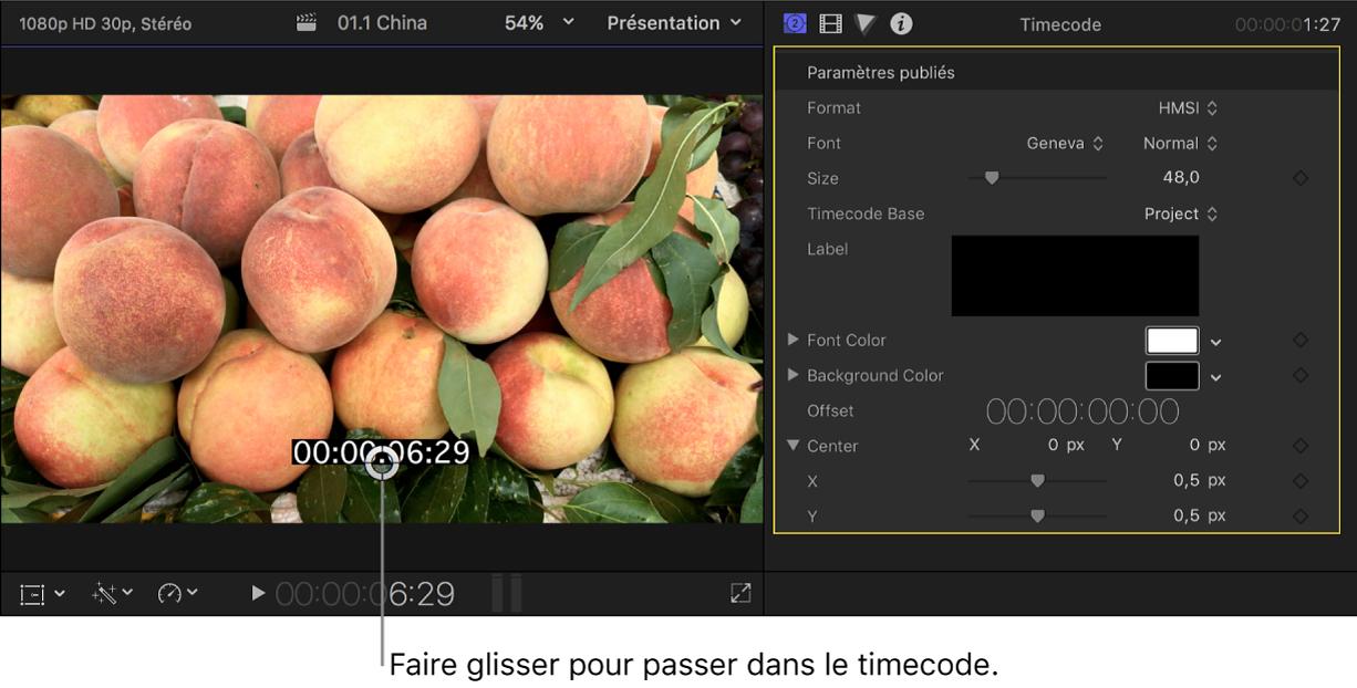 Visualiseur à gauche montrant une image vidéo avec le timecode superposé, et inspecteur de générateur à droite reprenant les réglages du plan de générateur de timecode