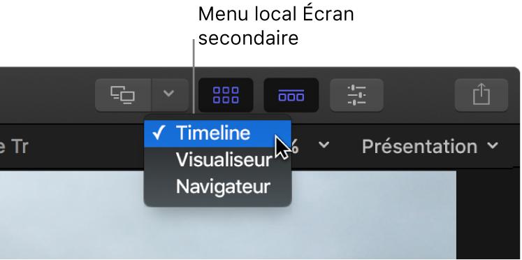 Menu local Écran secondaire dans la barre d'outils