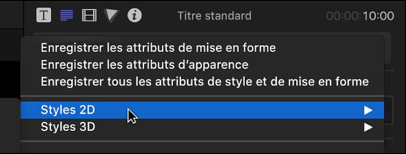 Option de styles 2D choisie dans le menu local situé en haut de l'inspecteur de texte