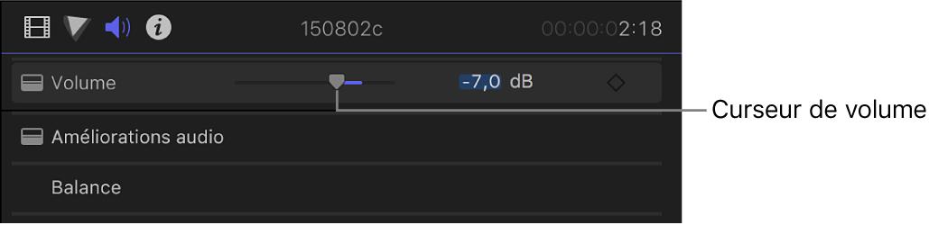 Curseur de volume dans la section Volume et balance de l'inspecteur audio