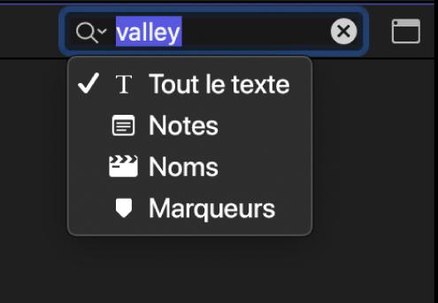 Menu local du champ de recherche affichant les catégories de recherche de texte: Notes, Noms et Marqueurs