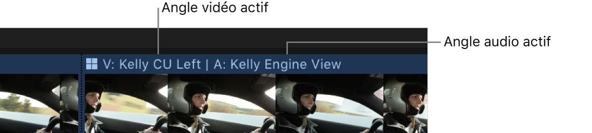 Un plan multicam dans la timeline affichant le nom des angles vidéo et audio actifs