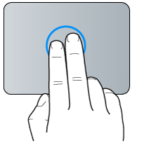 Geste de clic à deux doigts