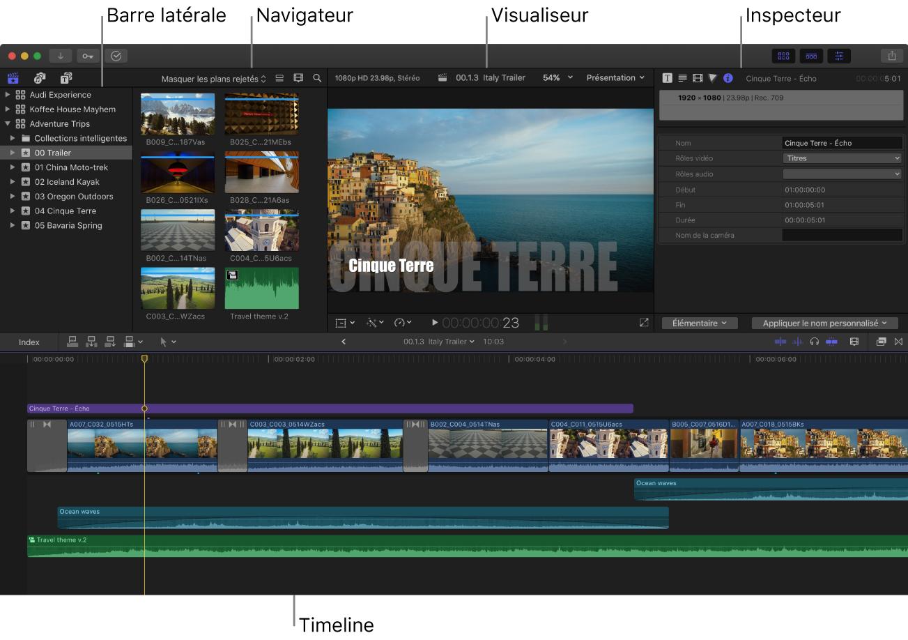 Fenêtre de FinalCutPro affichant la barre latérale, le navigateur, le visualiseur, l'inspecteur et la timeline