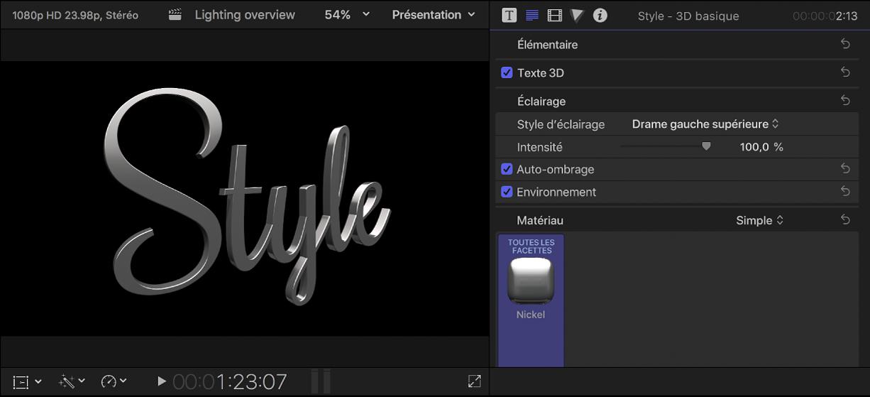 Titre 3D dans le visualiseur, avec réglages de style d'éclairage prédéfinis affichés dans l'inspecteur de texte