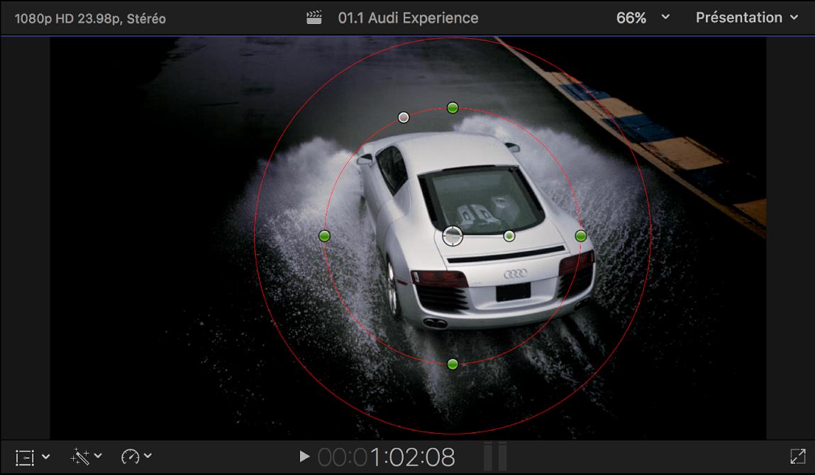 Visualiseur affichant les commandes à l'écran Masque de forme et l'effet Gaussien