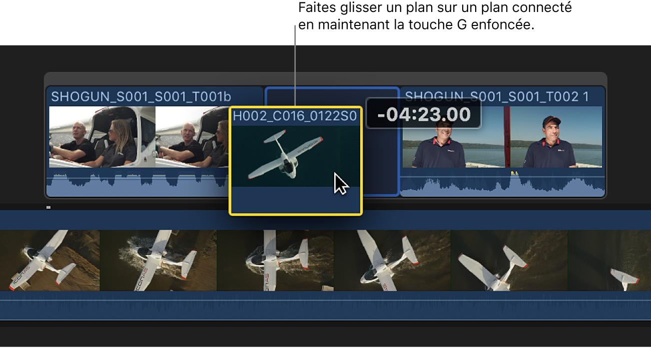 Plan glissé sur le plan connecté avec la toucheG maintenue afin de créer un scénario