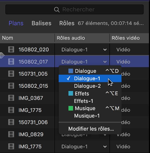Colonne Rôles du navigateur en présentation par liste, montrant un menu avec les sous-rôles disponibles