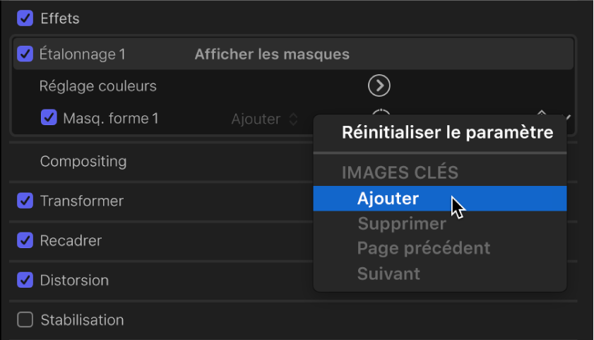 Menu local proposant les options d'ajout ou de suppression d'images clés