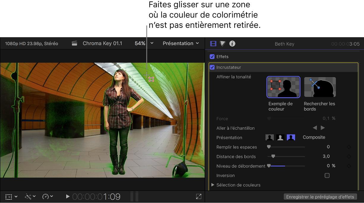 Utilisation de l'outil Exemple de couleur dans le visualiseur pour «nettoyer» l'incrustation chromatique
