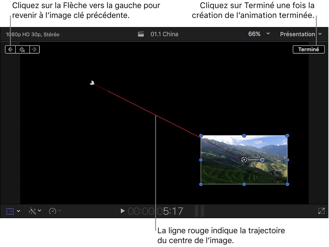 Visualiseur affichant l'effet Transformer, avec deux images clés reliées par une ligne rouge représentant la trajectoire de l'image