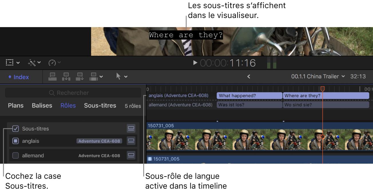 Case Sous-titres cochée dans l'index de la timeline et un sous-titre provenant du sous-rôle de langue actif affiché dans le visualiseur