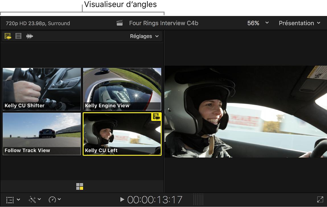 Visualiseur d'angle affichant l'angle actif surligné en jaune