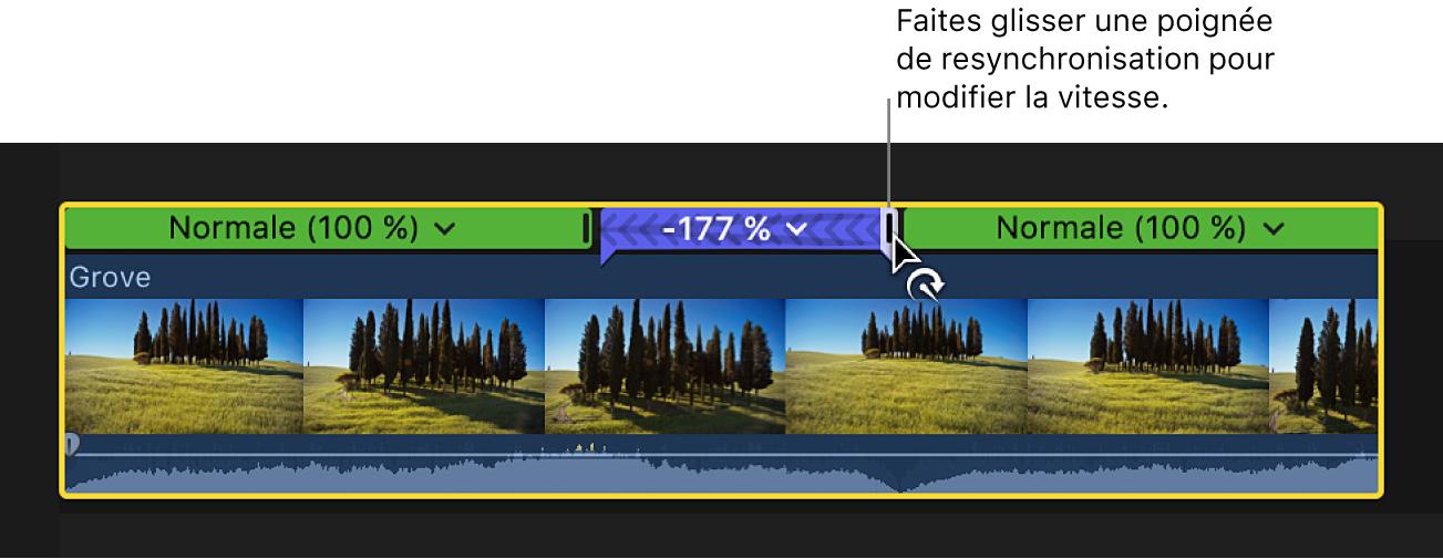 Glissement de la poignée de resynchronisation d'une section rembobinée d'un plan dans la timeline pour modifier la vitesse