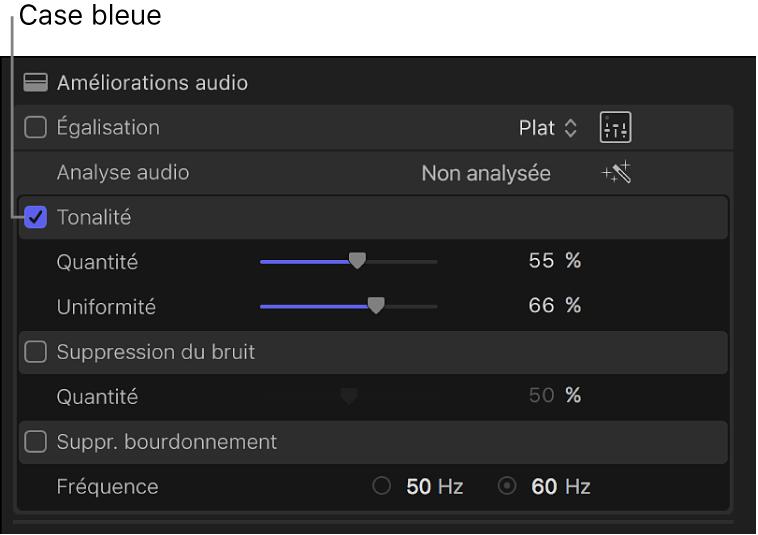 Inspecteur audio affichant une case permettant d'activer ou de désactiver une amélioration