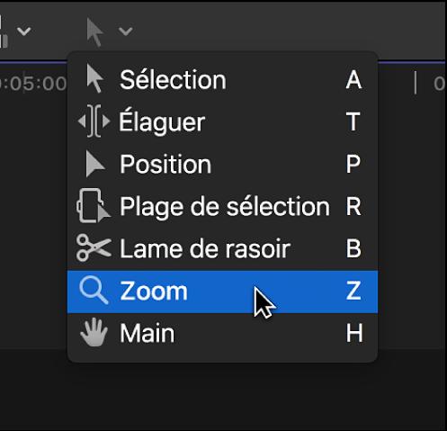 Outil Zoom dans le menu local Outils