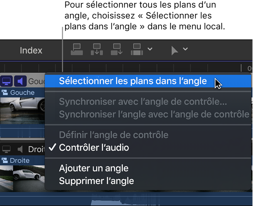 Options du menu local en regard du nom de l'angle dans l'éditeur d'angles