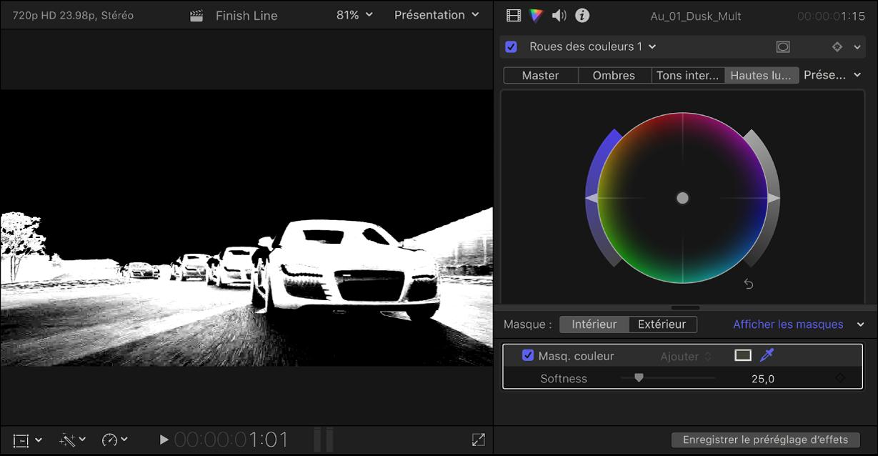 Inspecteur de couleur présentant un effet Roues des couleurs, avec le canal alpha du masque de couleur affiché dans le visualiseur