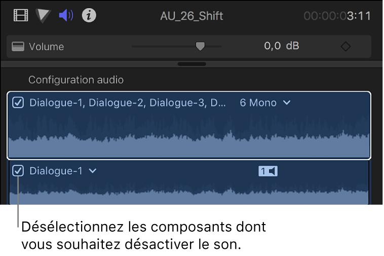 Cases des composants audio dans la section Configuration audio de l'inspecteur audio