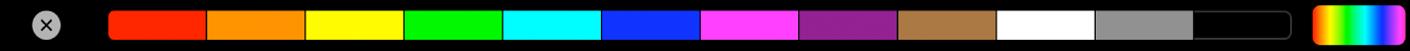 TouchBar affichant des panneaux d'échantillons de couleurs