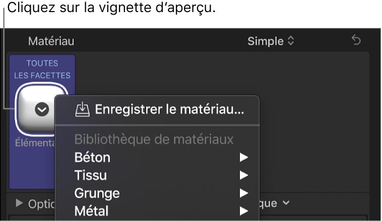 Section Texte3D de l'inspecteur de texte affichant le menu local des préréglages de matériau