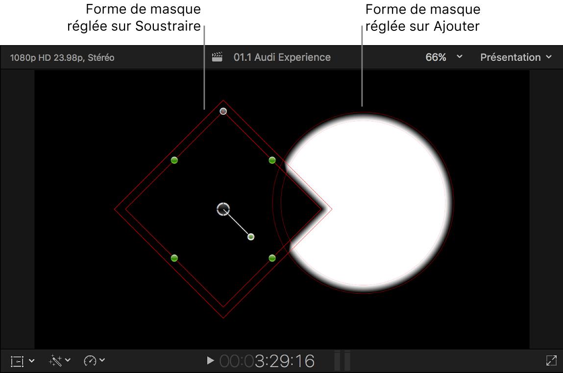 Visualiseur affichant une forme noire superposée à une forme blanche sur un arrière-plan noir