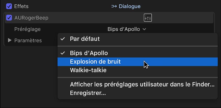 Options du menu local Préréglage dans la section Effets de l'inspecteur audio