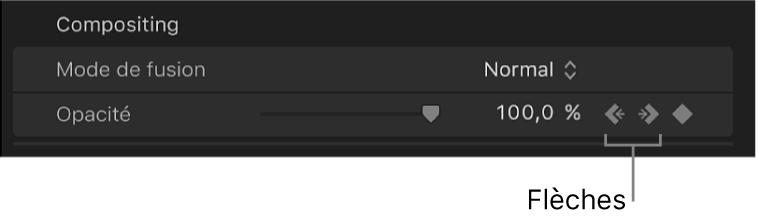 Flèches droite et gauche en regard du bouton Image clé du paramètre Opacité dans l'inspecteur vidéo
