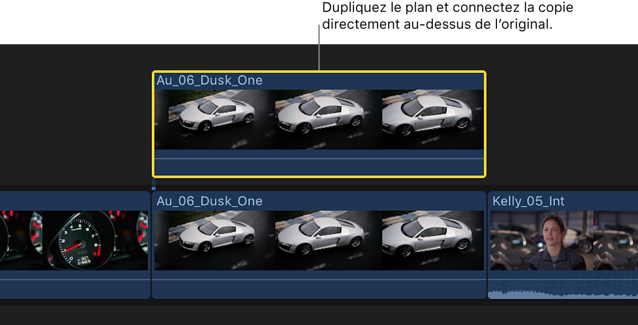 Timeline affichant un plan dans le scénario principal et un plan dupliqué placé directement au-dessus du plan d'origine et connecté à celui-ci
