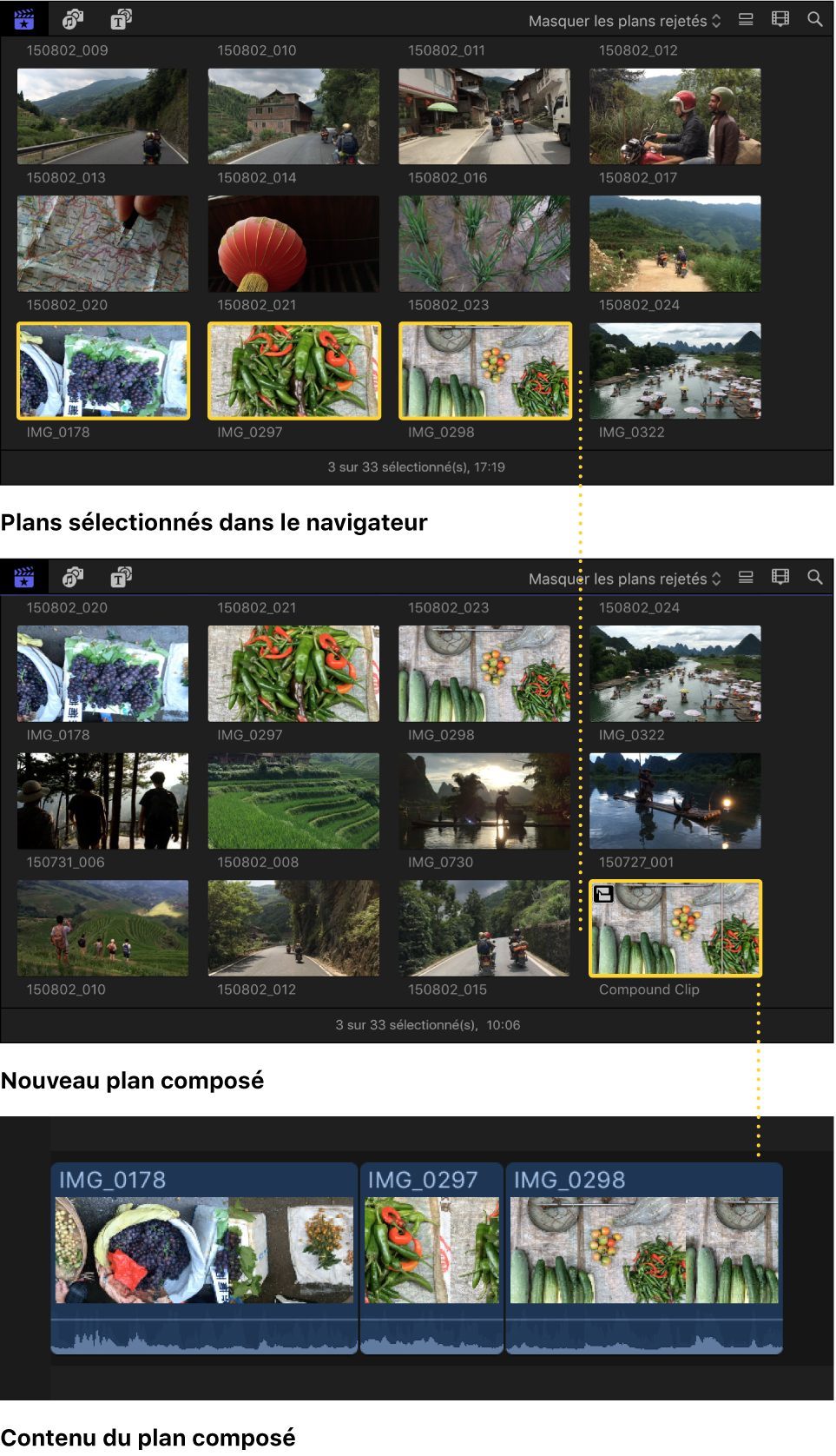 Un plan composé créé à partir de plans sélectionnés dans le navigateur