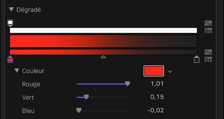 Curseurs des canaux de couleurs Rouge, Vert et Bleu dans les commandes de dégradé