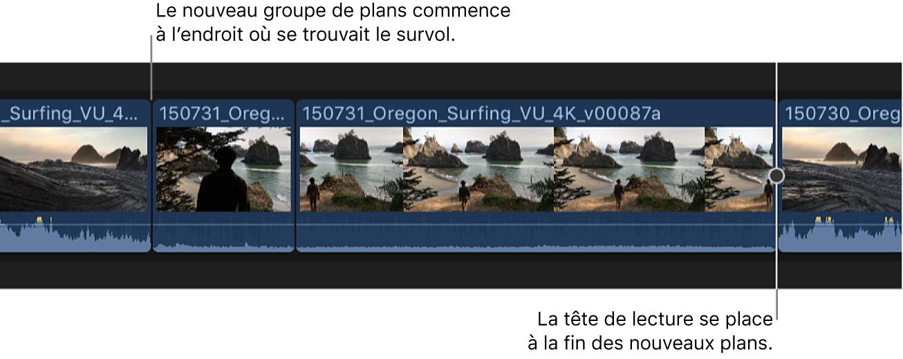 Deux plans dans le navigateur, ajoutés à la timeline au niveau du survol