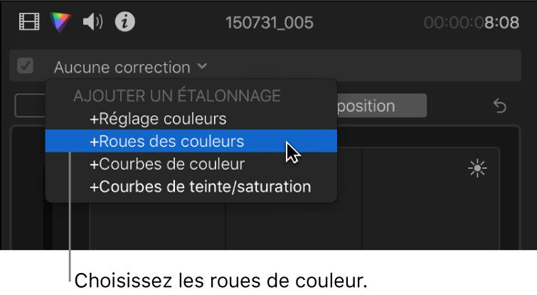 Roues des couleurs choisies dans la section Ajouter une correction du menu local situé en haut de l'inspecteur de couleur