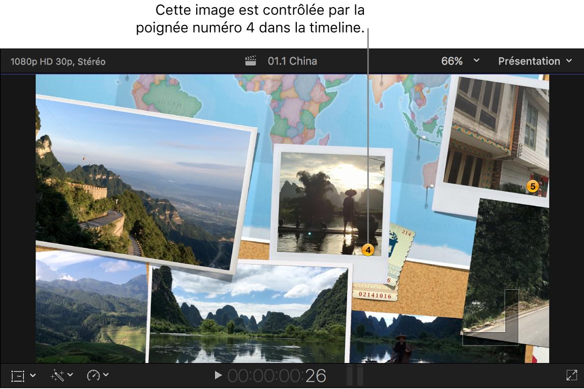 Visualiseur affichant une transition avec ses images fixes numérotées