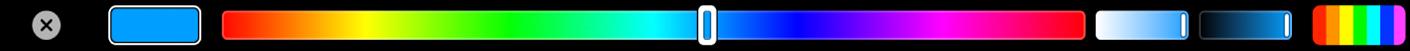 TouchBar affichant les commandes de teinte