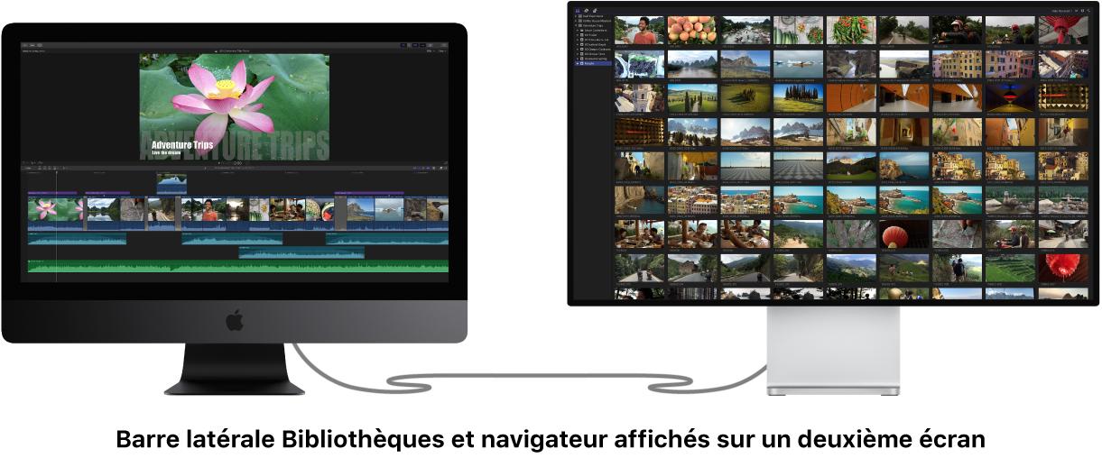 Barre latérale Bibliothèques et navigateur affichés sur un deuxième écran