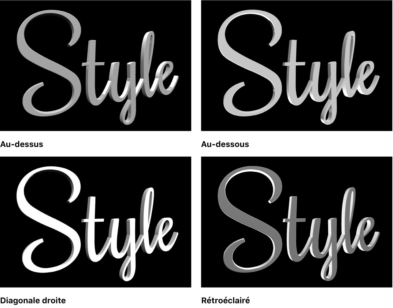Titre3D avec quatre styles d'éclairage différents dans le visualiseur: Au-dessus, En dessous, Diagonale vers la droite et Rétroéclairé
