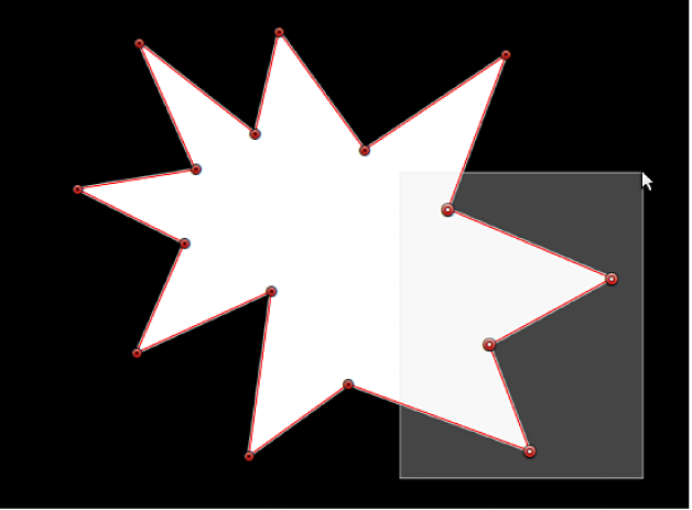 Visualiseur affichant un rectangle de sélection en cours de glissement sur plusieurs points de contrôle d'un masque de forme en vue de leur sélection