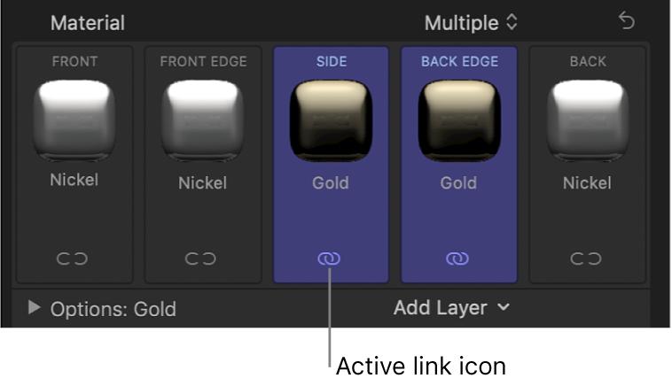 「テキスト」インスペクタの「素材」セクション。選択されている2つの面の下に、面がリンクされていることを示す青色のリンクアイコンが表示されている