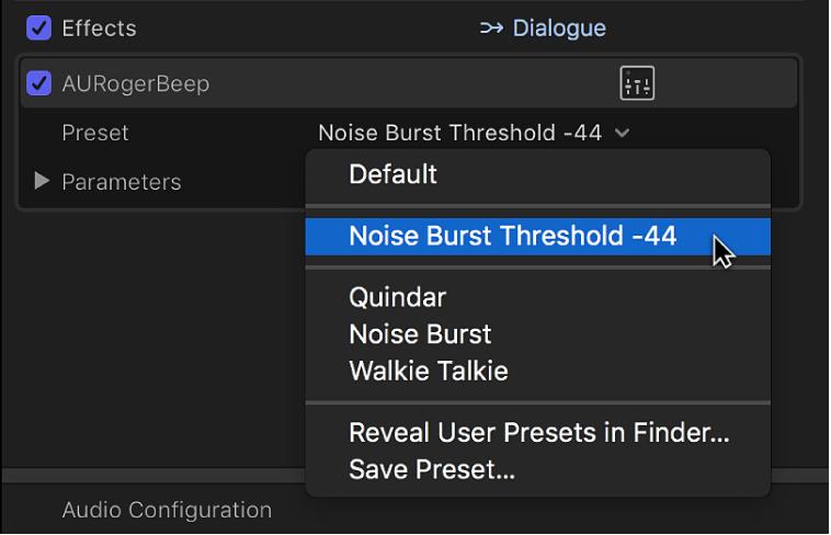 「オーディオ」インスペクタの「エフェクト」セクション。「プリセット」ポップアップメニューに保存済みのプリセットが表示されている