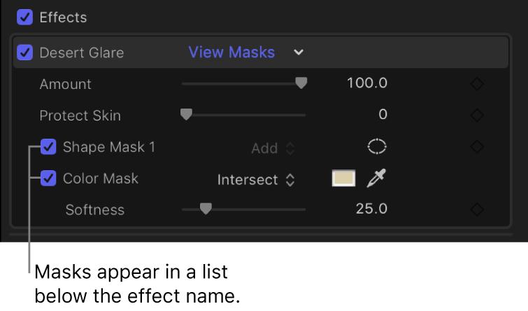 「ビデオ」インスペクタの「エフェクト」セクション。エフェクトに追加されたシェイプマスクとカラーマスクが表示されている