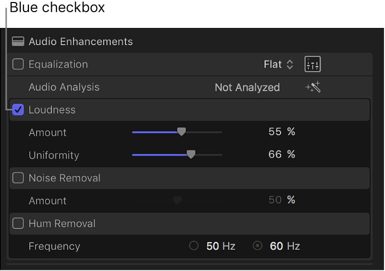 「オーディオ」インスペクタ。補正を有効または無効にするためのチェックボックスが表示されている