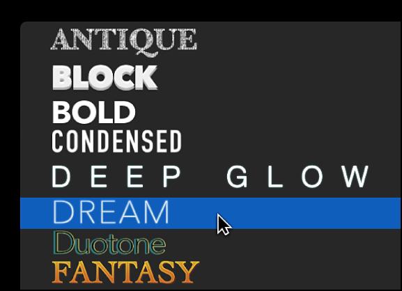 「テキスト」インスペクタの上部にあるポップアップメニューの2Dテキストスタイル。「Dream」テキスト・スタイル・プリセットが選択されている
