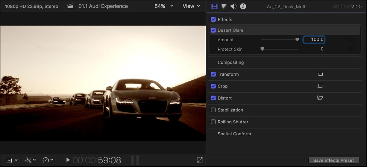 ビデオエフェクトが適用されたクリップが左側のビューアに表示され、右側に「ビデオ」インスペクタが開いている