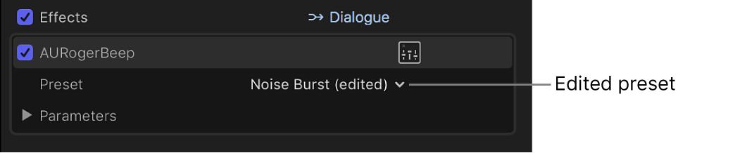 「オーディオ」インスペクタの「エフェクト」セクション。編集済みのエフェクトプリセットが表示されている