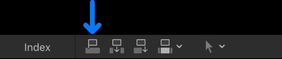 タイムラインの上にある「接続」ボタン