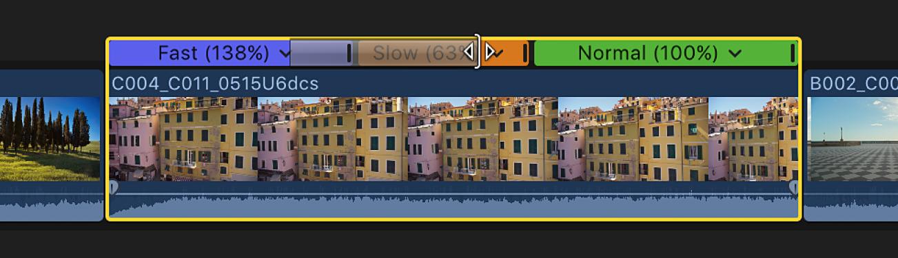 タイムラインで速度トランジションの端をドラッグして継続時間を変更中