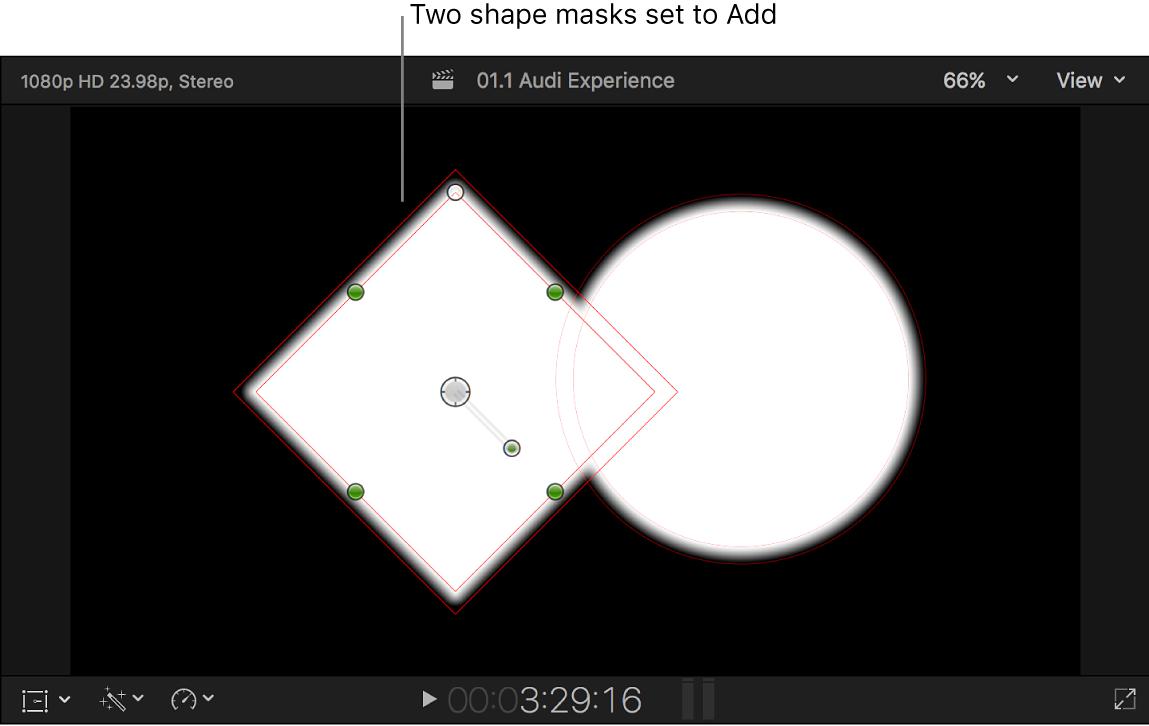 黒の背景に2つの重なった白のシェイプが表示されているビューア