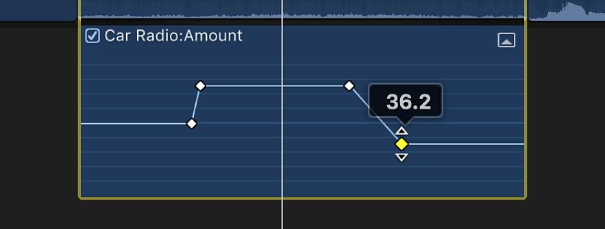 「オーディオアニメーション」エディタ内で、パラメータ値を変更するためにキーフレームがドラッグされている